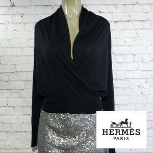 Hermes black wool long sleeve small sweater